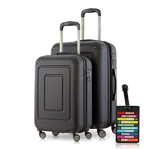 Happy Trolley - 2er Koffer-Set Trolley-Set Rollkoffer Hartschalen-Koffer Reisekoffer Lugano sehr leicht, TSA, (S+M), Schwarz + Design Kofferanhänger
