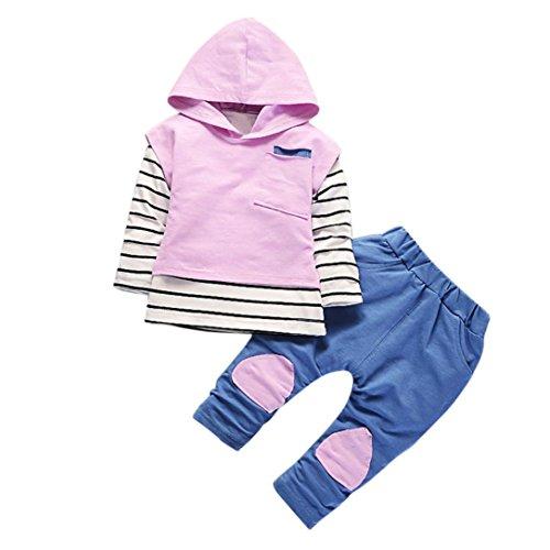 Kolylong® Kleidung mädchen 1 Set (6-24 Monate) Baby Mädchen Streifen drucken Anzug (Tops + Hosen) Herbst Suit Outfits Mit Kapuze Babykleidung (80CM(0-12 Monate), Lila)