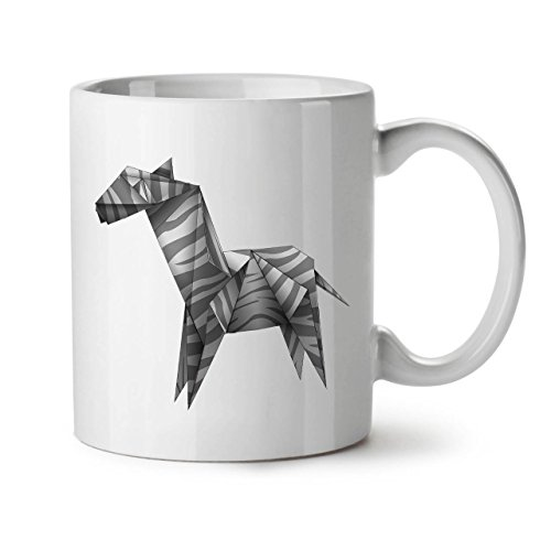Wellcoda Origami Zebra Cool Tier Keramiktasse, Papier - 11 oz Tasse - Großer, Easy-Grip-Griff, Zwei-seitiger Druck, Ideal für Kaffee- und Teetrinker