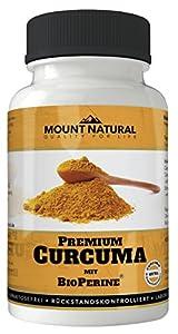 Mount Natural - laborgeprüftes Curcuma mit hochdosiertem Curcumin und Bioperine Piperin, 90 vegane Kapseln, Kurkuma-Longa-Pulver-Extrakt