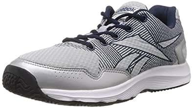 Reebok Men's Performer Silver, Navy, White and Black Mesh Running Shoes -  6 UK