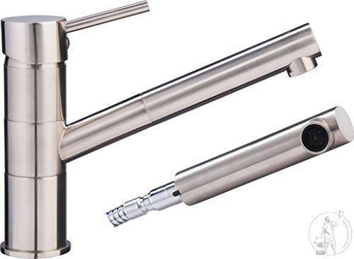 Hochwertige Designer Hochdruckarmatur-Spültischarmatur-Einhebelarmatur-Küchenarmatur- mit Brause -Edelstahl gebürstet-Modell: 8861 - VAF-NEU 2015 (Hochwertige Küchenarmatur)