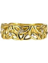 Bague - 9 - RC070DI - Anillo de mujer de oro amarillo (9k) con 5 diamantes (talla: 14)