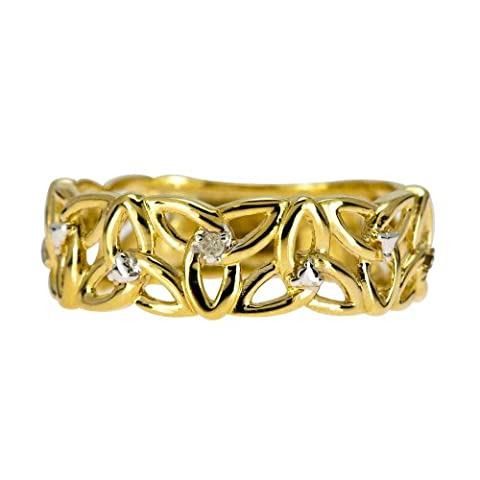 Kareco 9ct Yellow Gold Ladies' 5 Point Diamond Set Linked
