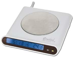 Connectland D-RECHAUFFE+H+4USB Réchauffe Tasse avec Hub USB + Horloge