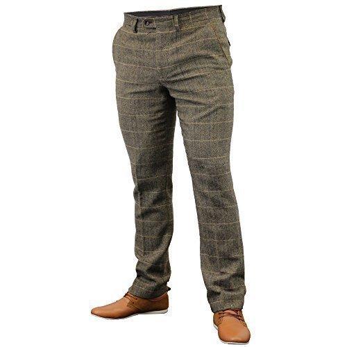 Pantaloni da uomo Marc Darcy pantaloni Tweed A Spina Di Pesce A Quadretti Matrimonio Lavoro Nuovo Tan - DX7 W38 Regular