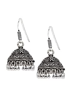 Bindhani Tribal Black Oxidized Silver Plated Metal Jhumki Earrings For Girls