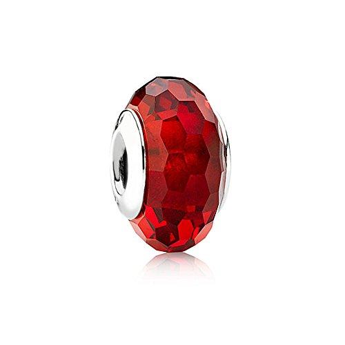 Charms sfaccettati autentici rouge Rosso Murano Perle di vetro per i monili delle donne di (Fortunato Braccialetto Della Pietra Preziosa)
