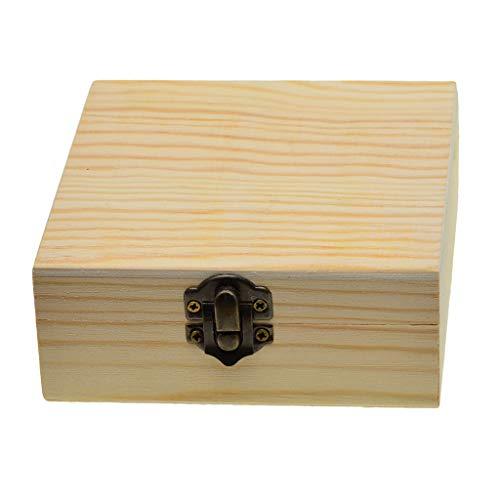 Descripción: - Estuche de almacenamiento de caja de joyería de madera inacabado con tapa - El diseño base en blanco y natural es ideal para manualidades de bricolaje, perfecto para manualidades de bricolaje, decoupage, pintura, tinci...