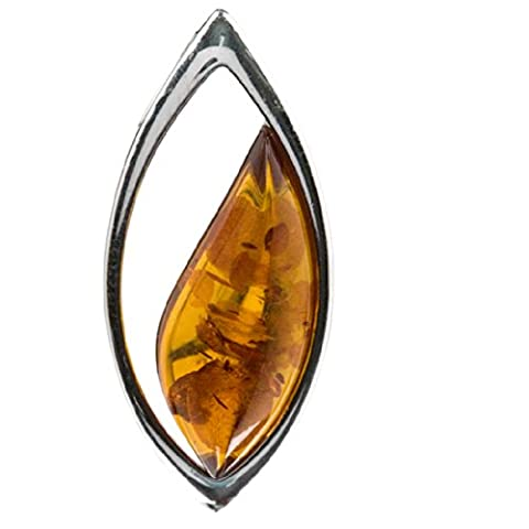 Amber Sterling Silver Contemporary Marquise Shaped Large Pendant Slider