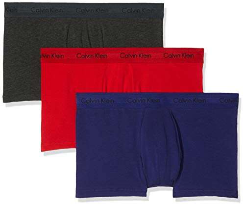 Calvin Klein Herren Cotton Stretch 3-Pack Trunk_0000U2664G Boxershorts, Rot (Manic Red/Shilo Blue/Charcoal H Hwb), Medium (Herstellergröße: M) (erPack 3) (Blue Edge)