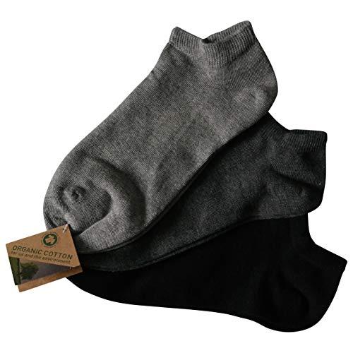 Lieblingsstrumpf24 6 Paar Füsslinge Sneaker Socken Bio 98% Baumwolle Organic Cotton ohne Naht (43-46, Grau-töne) -