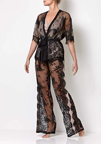 Millesime Loungewear Spitze Damen Set | Damen Pyjama, 3-teiliges Set Sleepwear, Pyjama Damen Lang und Sexy | Baumwolle, Seide & Polyamid -