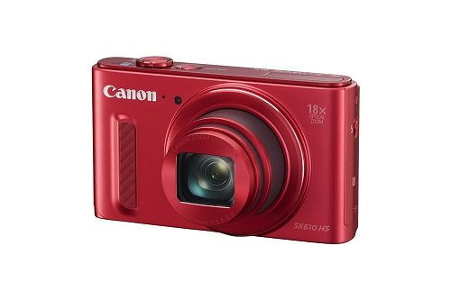 Canon SX610 HS 20.2MP Point and Shoot Digital Camera (Red) with 18x Optical Zoom, 8GB Memory Card and Camera Case