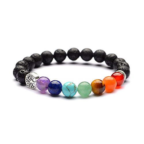 Hlzf Buddhismus Energy Vulkanstein Armband Yoga Armband Lebensbaum Naturstein 7 Chakra Armband Für Unisex