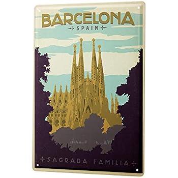 Tôle plaque ville DECO Madrid Espagne plaque métallique 20x30 CM