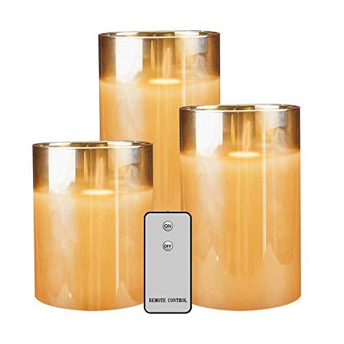 LED Velas Cristal, sin Llama velas mando a distancia con temporizador REALiS mesa flackernde LED de llamas, tamaño 10 cm/12.5 cm/15 cm de alto
