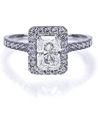 14 ct White Gold Wedding & Engagement Ring 1.5ct Emerald Cut CZ Solitaire Ring