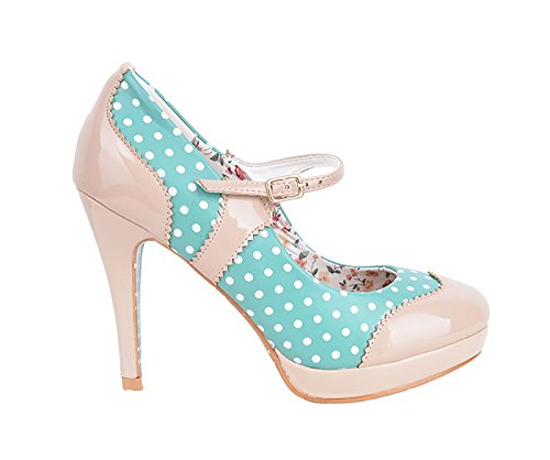 Dancing Days MARY JANE Polka Dots Riemchen Vintage Pumps High Heels Rockabilly Dunkles Mint mit Dots