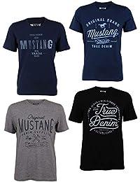 MUSTANG 4er Pack Herren T-Shirt mit Frontprint und Rundhalsausschnitt - Farbmix Blau, Schwarz, Grau und Weiß, Größe:XL, Farbe:Farbmix (P11)