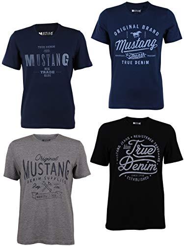 MUSTANG 4er Pack Herren T-Shirt mit Frontprint und Rundhalsausschnitt - Motivmix, Größe:M, Farbe:Farbmix (P11)