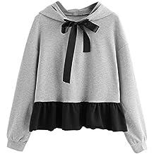 feiXIANG suéter de Mujer Volantes de Manga Larga Sudadera con Capucha Sudadera con Capucha suéter con