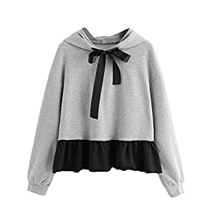 Festiday Sweatshirts for Women Zip Up Hoodie Clearance Sale 2018 New Casual Running Clothing Womens Ruffles Long Sleeve Hoodie Sweatshirt Jumper Hooded Pullover Bow Blouse