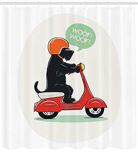 ABAKUHAUS Scottie Dog Duschvorhang, Scooter Befreien Welpen, mit 12 Ringe Set Wasserdicht Stielvoll Modern Farbfest und Schimmel Resistent, 175x240 cm, Mehrfarbig -
