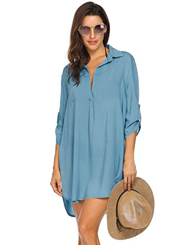 Damen Kurze Kleid Badeanzug Bikini Cover Up, Blau, Small ()
