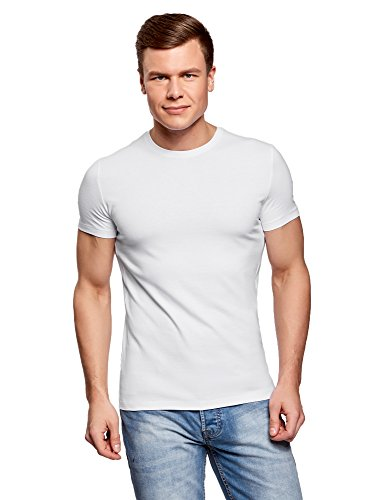 oodji Ultra Herren Tagless T-Shirt Basic (2er-Pack), Weiß, De 52-54/L (Elasthan Man Baumwolle Weiß)