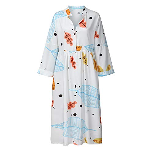 QIMANZI Sommerkleid Damen Beiläufig TasteGestreift Drucken Kurzarm Plus Size Damen Knielang Retro V-Ausschnitt Kleid(Y Weiß,XL) - Panel V-ausschnitt Kleid