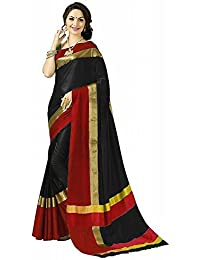 High Glitz Fashion Women's Black & Red Colour Poly Cotton Saree With Blouse Piecs