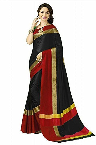 High Glitz Fashion Women's Black & Red Colour Poly Cotton Saree With...