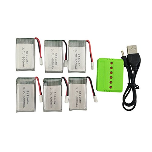 Ocamo Batería Litio 6PCS,3.7V 600mah 1 Cargador