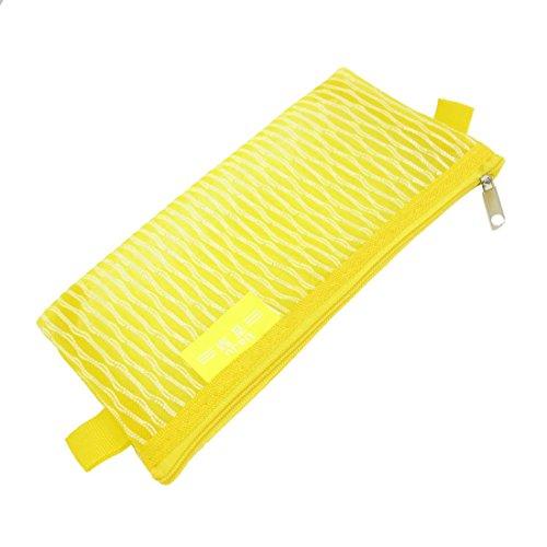 Sourcingmap Nylon Mesh Zippered School Pen Pencil Bag Holder Pouch - Yellow