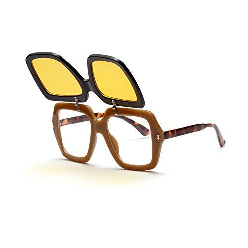 KONGYUER Sonnenbrillen, Brillen,Gelb Clip On Sonnenbrille Für Männer Frauen Retro Vintage Damen Sonnenbrille Übergroßen Luxus Shades