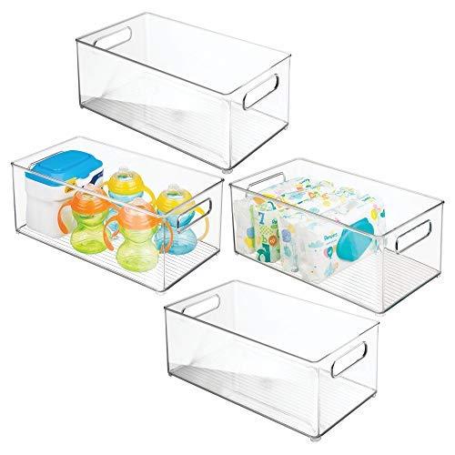 erzimmer Organizer - Sortierbox mit praktischen Griffen, ohne Deckel - BPA-freier Kunststoffbehälter mit großem Fach für Spielzeug, Windeln, Stofftiere & Co. - durchsichtig ()