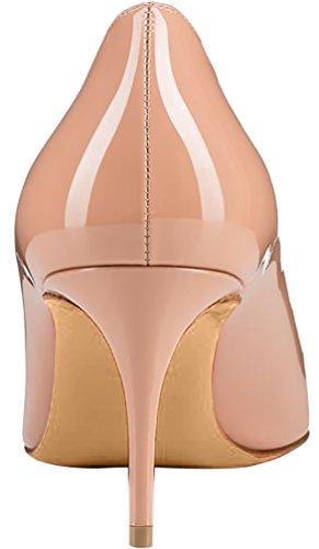 ELEHOT Femme 12cm Taille EU 34-46 Elenow Aiguille 12CM Synthétique Escarpins beige 7cm