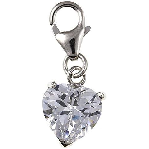 Bianco Cz Set in argento Sterling a forma di cuore Charm a Clip, per bracciali stile Thomas Sabo