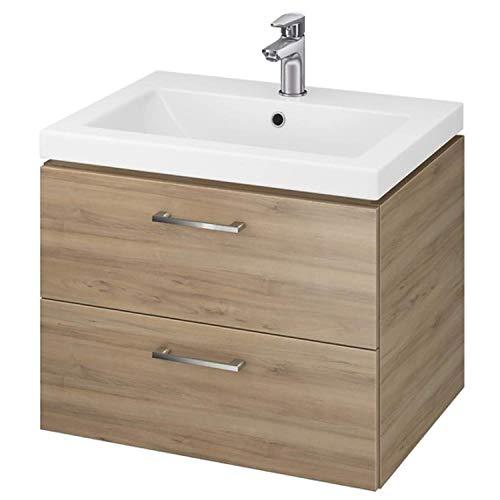 VBChome Waschtischunterschrank 50cm Waschbecken mit Unterschrank 2 Schubladen Nussbaum Badmöbel weiß Hochglanz Badezimmermöbel hängend