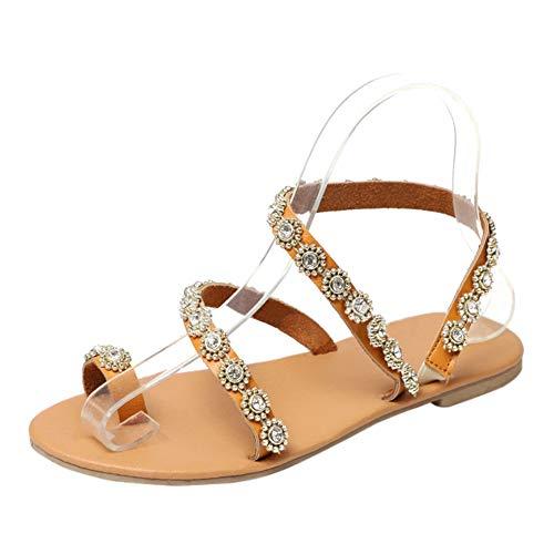 uirend Schuhe Damen Sandalen - Frauen Gladiatoren Römischen Runde Kopf Mode Perlen Bohemia Outdoor Sommer Strand Zehentrenner Flach Sandaletten Strass