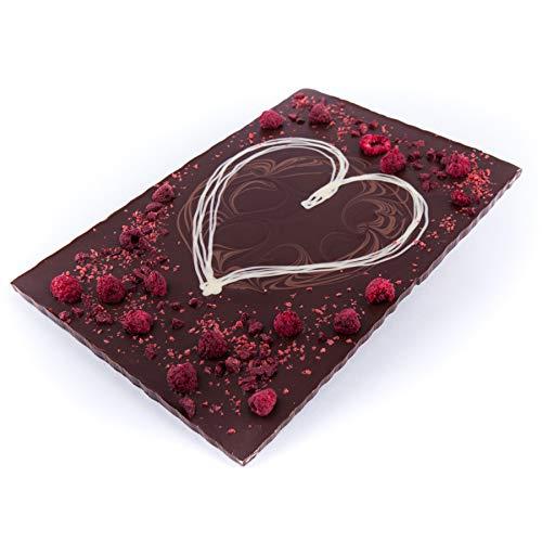 XXL Schokolade Herz 520g Edel Zartbitter-Schokolade - verziert mit Himbeeren und Brombeeren - Deutsche Handarbeit ideal als Geschenk zum Geburtstag Hochzeitstag Jahrestag -
