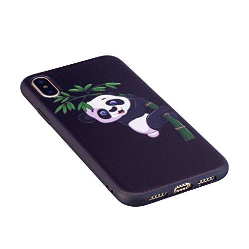 Custodia per iPhone X Cover , YIGA Nero Moda Gufo Silicone Morbido TPU molle Case Flessibile Protezione Shell Cover per Apple iPhone X (5,8 pollici) BF35