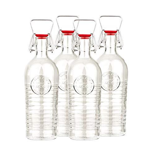 Bormioli 4er Set Glasflaschen/Einmachgläser Officina 1825 - Mit Relief und Riffelung - Italienische Qualität - Ideal für Einkochen, Getränke, Fermentierung, Dekoration -