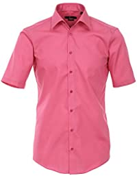 Venti Hemd Pink Uni Kurzarm Slim Fit Tailliert Kentkragen 100% Feinste Baumwolle Popeline Bügelfrei