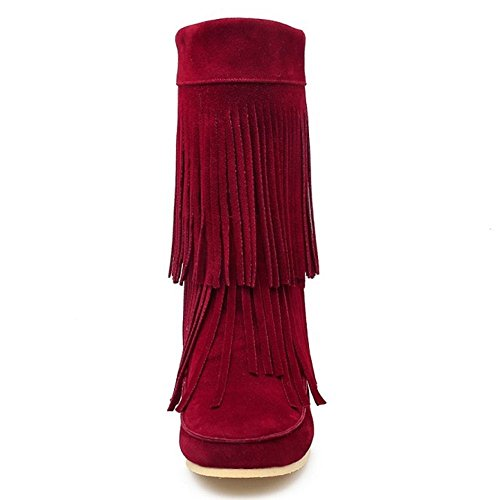 7f3f3c105e3f08 Augmentation Franges Casual Bas Slip Femmes Coolcept On Wine With Bottes  Red wT8BIqIZ