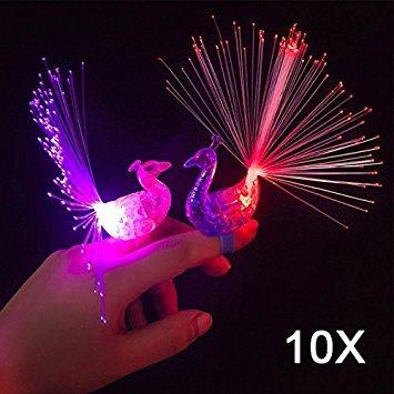 Hrph 10pcs peacock finger luci di colore led di notte della lampada per bambini in fibra ottica della luce della barretta educational dito in plastica giocattolo