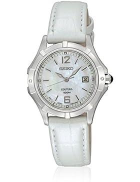 Seiko–SXDE07P2Damen-Armbanduhr–Quarz Analog–Ziffernblatt Perlmutt–Armband Leder Weiß