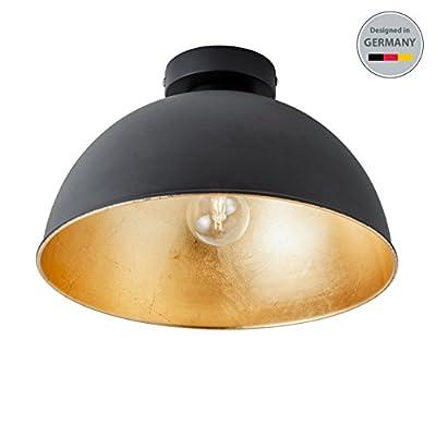 B.K.Licht Design Industrielle Vintage Deckenleuchte Φ 30cm exkl. E27 Leuchtmittel, schwarz für Wohnzimmer Esszimmer Restaurant