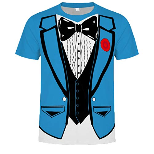 Clearance Saingace T-Shirt Smoking Falscher Anzug Mit Fliege Scherz Männer T-Shirt